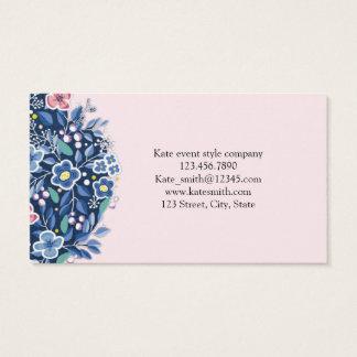 Cartão de visita floral da flor azul do buquê