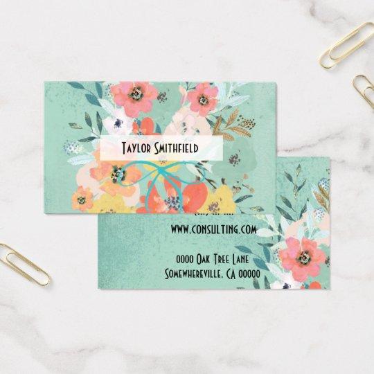 cartão de visita floral do papel de parede do