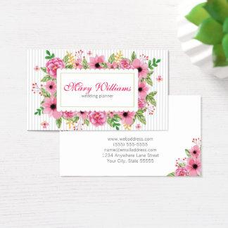 Cartão de visita floral do planejador do casamento