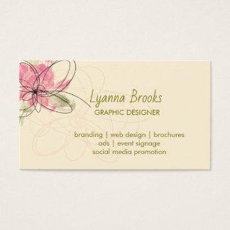 Cartão de visita floral do rosa bege do pomar