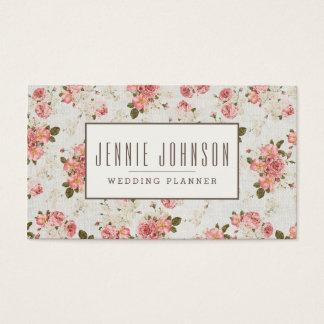 Cartão De Visitas Cartão de visita floral do teste padrão do vintage