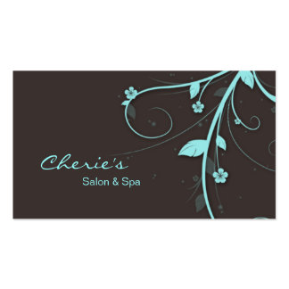 Cartão de visita floral dos redemoinhos do marrom