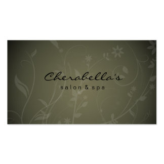 Cartão de visita floral dos termas verdes do salão