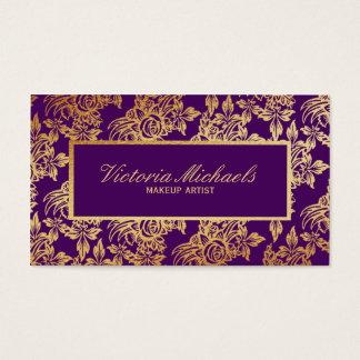 Cartão de visita floral elegante da ameixa e do