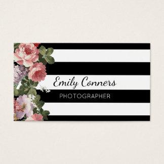 Cartão de visita floral elegante da listra