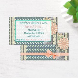 Cartão de visita floral feminino cor-de-rosa