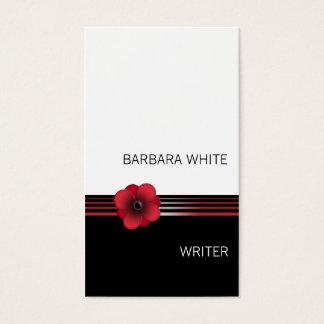Cartão de visita floral preto branco vermelho