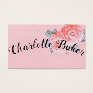 Cartão de visita floral romântico & do vintage