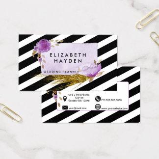 Cartão De Visitas Cartão de visita floral roxo da folha de ouro