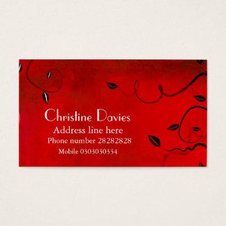 Cartão de visita floral vermelho