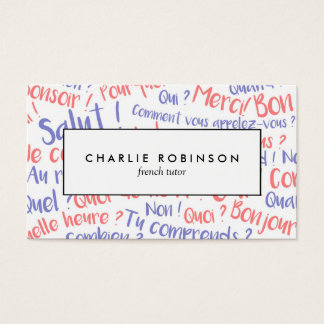 Cartão de visita francês azul e vermelho do tutor