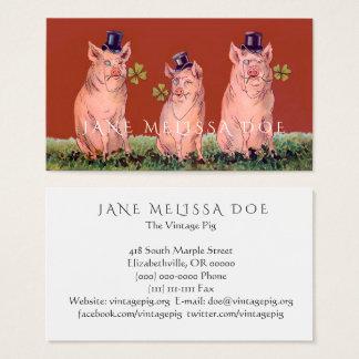 Cartão de visita frente e verso dos porcos