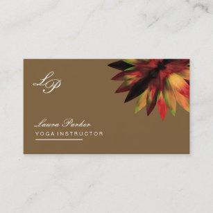 Cartão De Visita Ioga cura da terapia do logotipo de Brown da flor