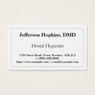 Cartão de visita liso do higienista dental