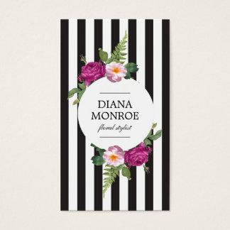 Cartão de visita listrado da grinalda floral