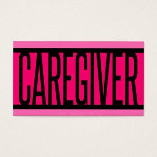 Cartão de visita listrado do rosa do cuidador