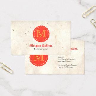 Cartão de visita luxuoso do vintage