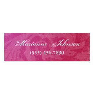 Cartão de visita magro do Grunge feminino cor-de-r