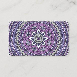 Cartão De Visita Mandala roxa bonito