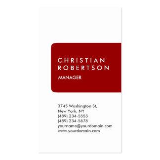 Cartão de visita moderno branco vermelho na moda v