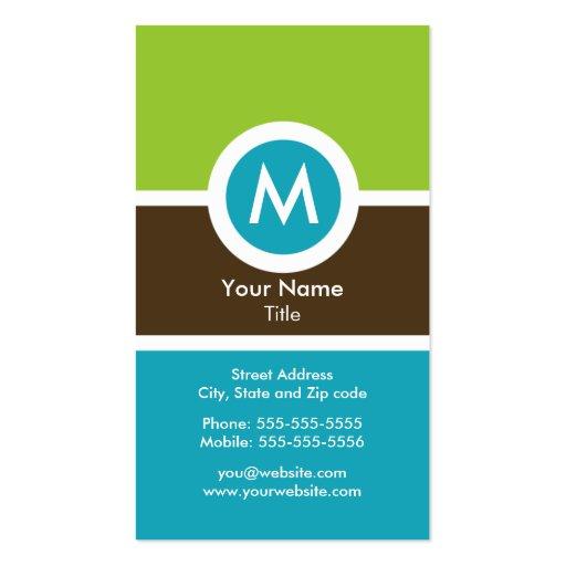 Cartão de visita moderno do monograma
