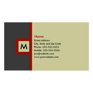 Cartão de visita moderno do monograma das cinzas