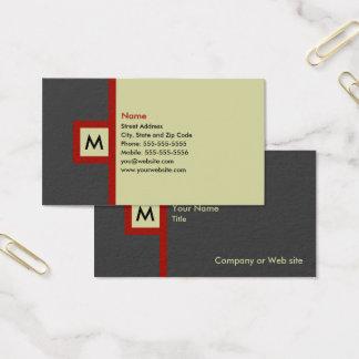 Cartão de visita moderno do monograma das cinzas &