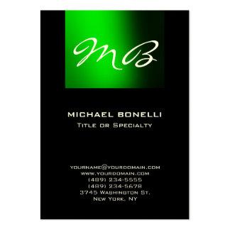 Cartão de visita moderno do monograma preto verde