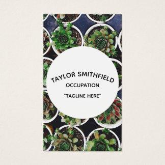 cartão de visita moderno do succulent do hipster
