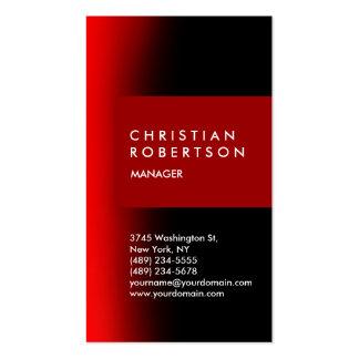 Cartão de visita moderno preto vermelho na moda ve