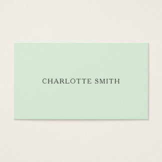 Cartão de visita moderno verde pastel minimalista