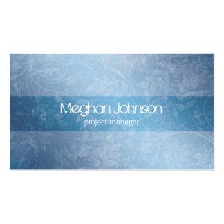 Cartão de visita na moda azul floral do Grunge