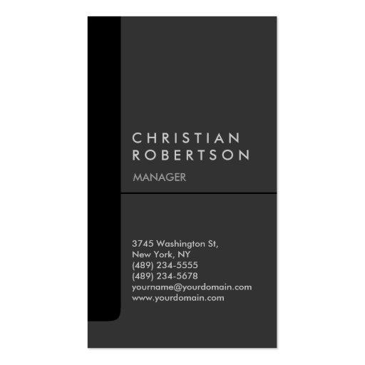 Cartão de visita na moda chique cinzento preto ver