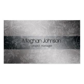 Cartão de visita na moda cinzento floral do Grunge