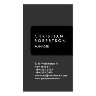 Cartão de visita na moda cinzento preto vertical