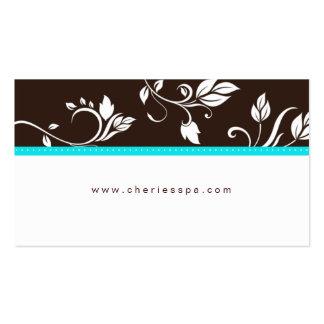 Cartão de visita na moda floral azul de Brown de t