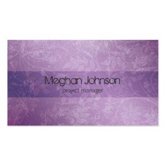 Cartão de visita na moda roxo floral do Grunge