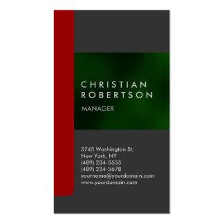 Cartão de visita na moda verde vermelho cinzento v