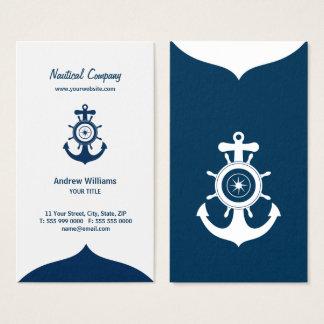 Cartão de visita náutico da âncora azul