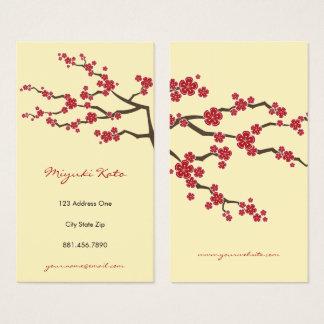 Cartão de visita oriental vermelho das flores de