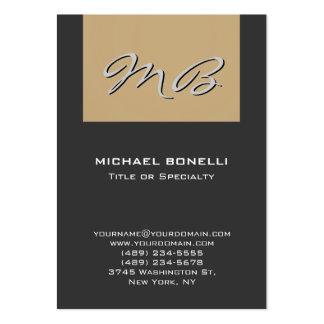 Cartão de visita original do monograma bege cinzen