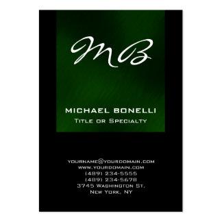 Cartão de visita original do monograma preto verde