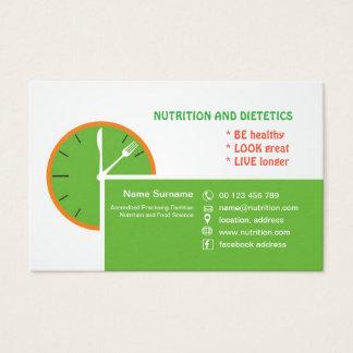 cartão de visita para a dietista praticando
