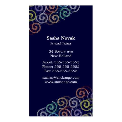 Cartão de visita pessoal espiral do instrutor