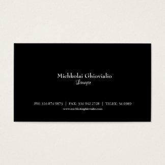 Cartão de visita preto básico do advogado/advogado