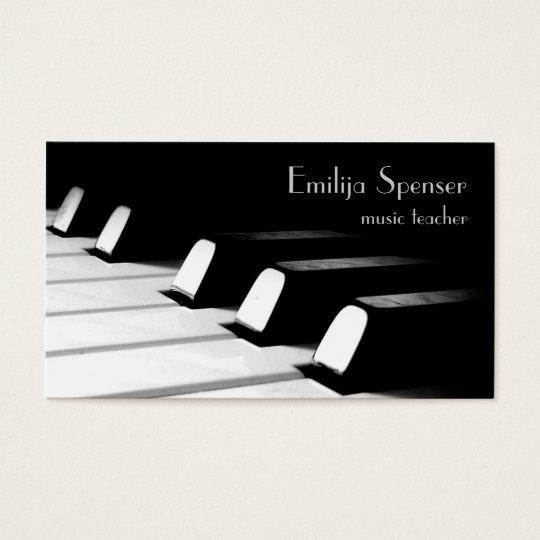 Minimalist Classroom Music ~ Cartão de visita preto branco minimalistic do