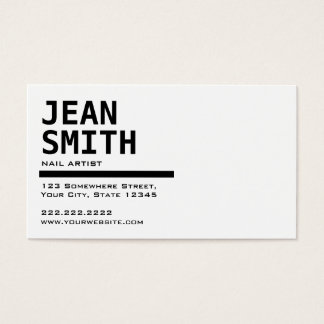Cartão de visita preto & branco simples da arte do