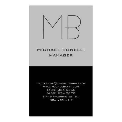 Cartão de visita preto cinzento vertical na moda d
