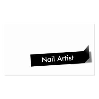 Cartão de visita preto da arte do prego da etiquet