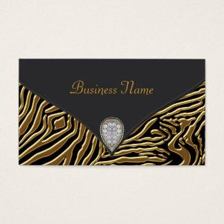 Cartão de visita preto da zebra do preto do ouro